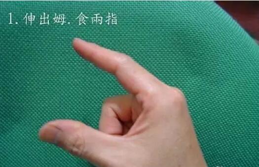 伸出拇指、食指